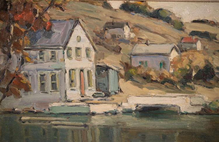 WALTER FARNDON, (American, 1873-1964), WATERFRONT HOUSES, oil on canvas, 13 3/4 x 17 3/4 in. (17 1/2 x 21 1/2 in.)