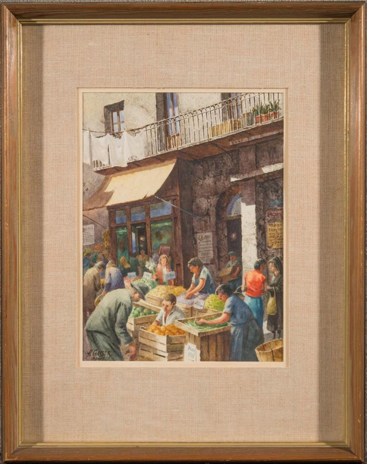 HENRY GASSER, (American, 1909-1981), SUMMER MARKET IN ROME, watercolor, sight: 11 1/2 x 8 1/2 in. (19 1/2 x 15 1/2 in.)
