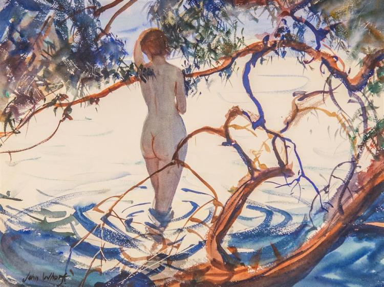 JOHN WHORF, (American, 1903-1959), THE BATHER, watercolor, sight: 15 1/2 x 20 1/2 in. (27 x 32 in.)