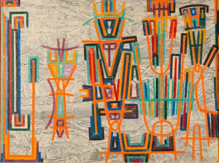 CORRADO CAGLI, (American/Italian, 1910-1976), L'ARRIVO DEL CAPO, 1955, oil paper laid on canvas, 18 1/2 x 24 1/2 in. (28 1/2 x 34 1/..