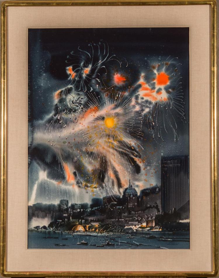 LAURENCE SISSON, (American, b. 1928), FOURTH OF JULY, watercolor, sight: 29 x 12 in. (36 x 28 in.)