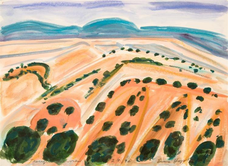 ERIC HOPKINS, (American, b. 1951), TESUQUE OVERVIEW together with TESUQUE OVERIVEW IN PENCIL, watercolor on paper; pencil on paper,...