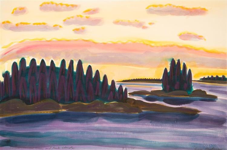 ERIC HOPKINS, (American, b. 1951), PURPLE POINTED TREES AND PINK CLOUDS, watercolor on paper, sight: 14 1/2 x 21 1/2 in. (23 1/4 x 2...