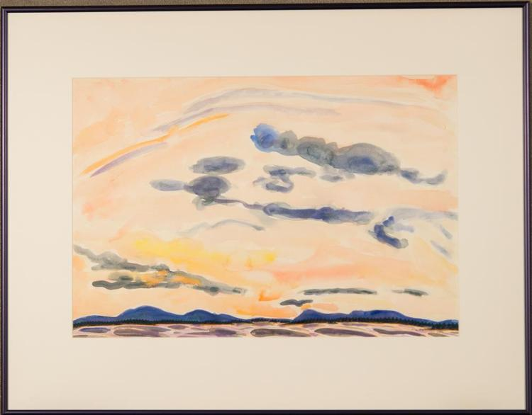 ERIC HOPKINS, (American, b. 1951), CAMDEN HILLS FROM THE BOAT, watercolor on paper, sight: 14 3/4 x 21 3/4 in. (23 1/4 x 29 3/4 in.)