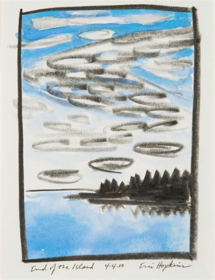 ERIC HOPKINS, (American, b. 1951), END OF THE ISLAND, colored pencil on paper, sight: 7 x 5 1/2 in. (12 x 10 in.)
