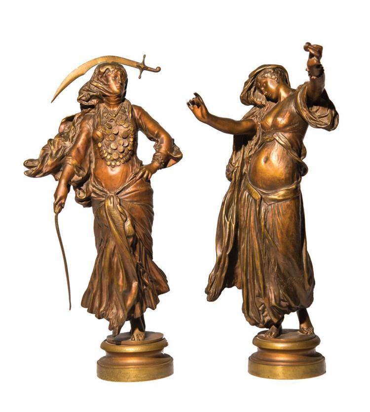 MARIUS JEAN ANTONIN MERCIE, (French, 1845-1916), L'ALMEE and DANSE DU SABRE, bronze, height of the taller: 16 3/4 in.