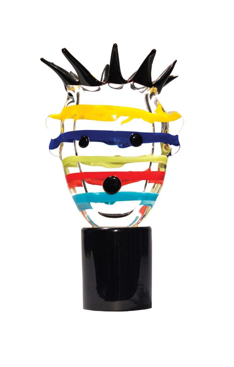 KIKI KOGELNIK, (Austrian, 1935-1997), MULTI STRIPE HEAD, Murano glass, height 14 1/2 in.