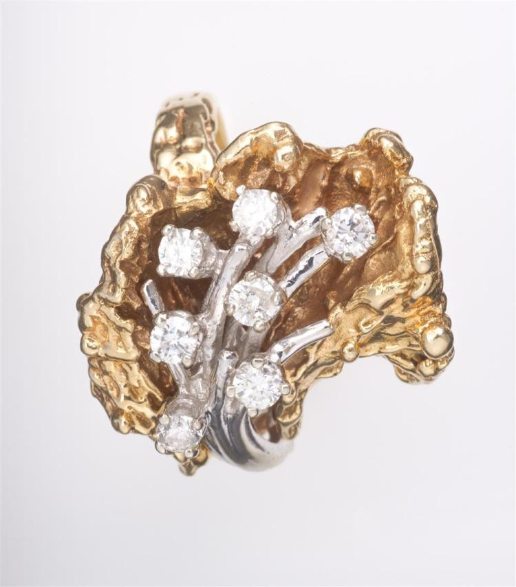 14K YELLOW AND WHITE GOLD AND DIAMOND RING