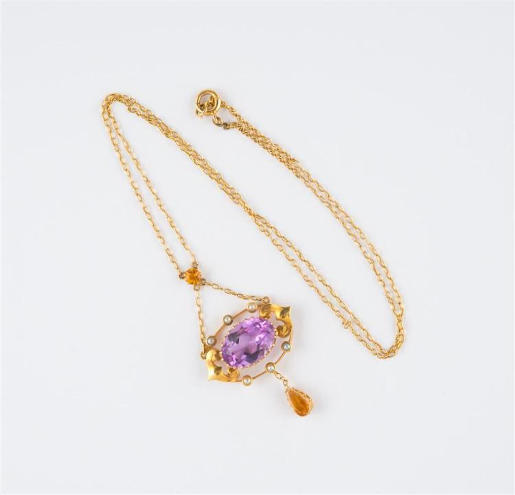 18K YELLOW GOLD, AMETHYST, CITRINE, AND SEED PEARL PENDANT NECKLACE
