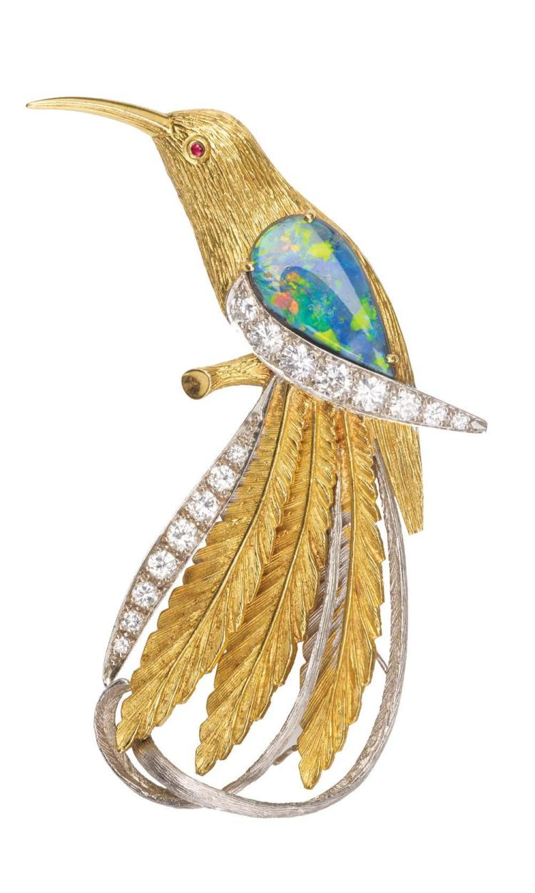 14K YELLOW AND WHITE GOLD, BLACK OPAL, AND DIAMOND BIRD BROOCH