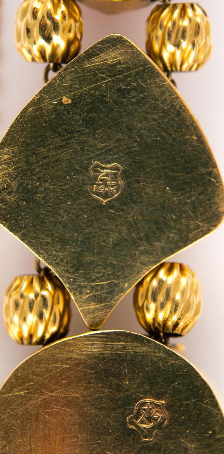 14K YELLOW GOLD AND GEMSET SLIDE BRACELET
