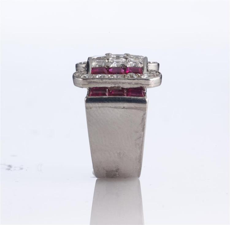 PLATINUM, DIAMOND, AND RUBY RING, LaCloche