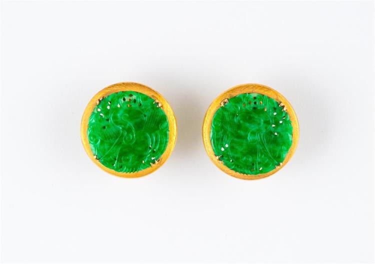 14K YELLOW GOLD AND CARVED JADE EARCLIPS