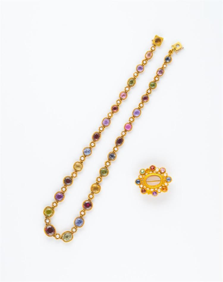 14K YELLOW GOLD, GEMSET, AND SEED PEARL NECKLACE AND BROOCH