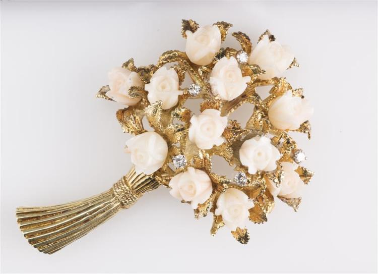 14K YELLOW GOLD, ANGELSKIN CORAL, AND DIAMOND BROOCH