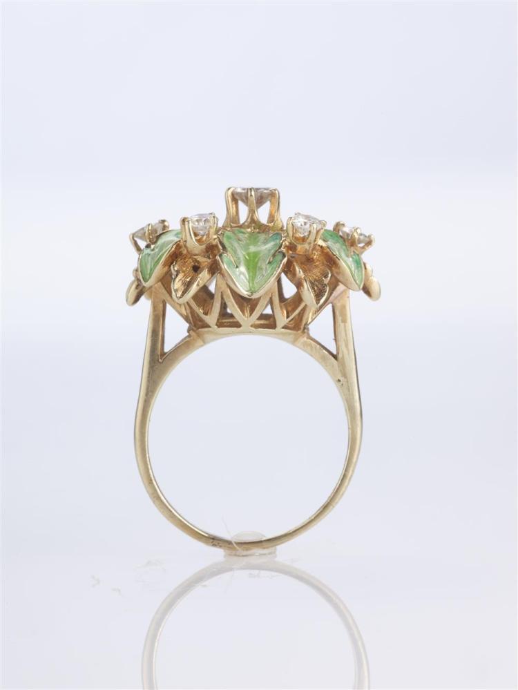 14K YELLOW GOLD, DIAMOND, AND ENAMEL RING