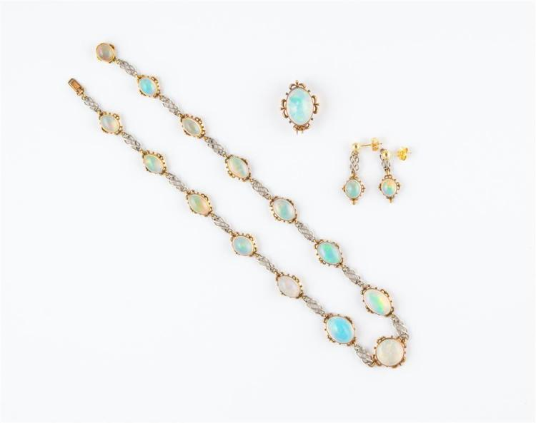 18K YELLOW AND WHITE GOLD AND OPAL SUITE