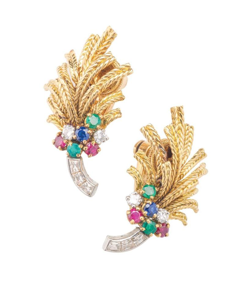18K YELLOW AND WHITE GOLD, DIAMOND, AND GEMSET EARCLIPS, Cartier