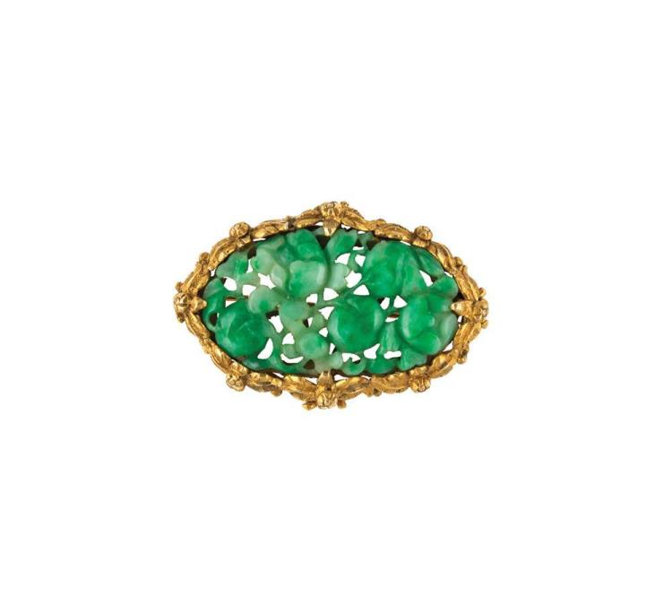 18K YELLOW GOLD AND CARVED JADE BROOCH, Tiffany & Company