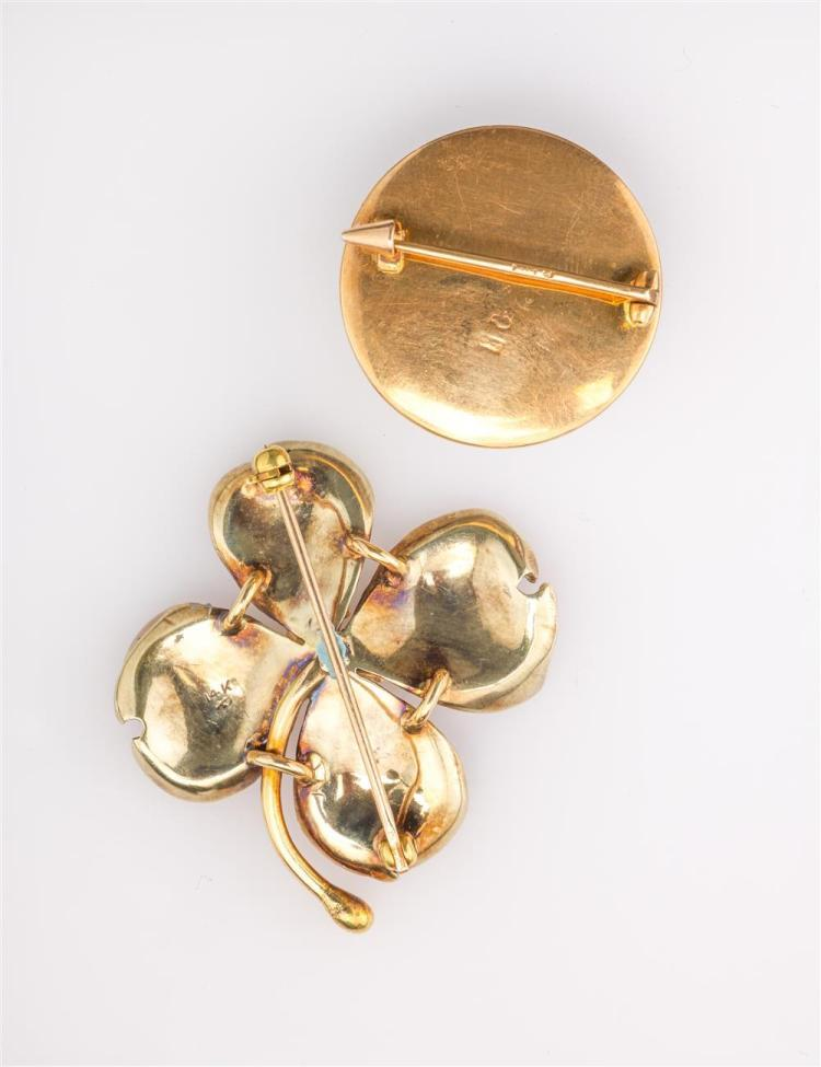 PAIR OF FLORAL BROOCHES
