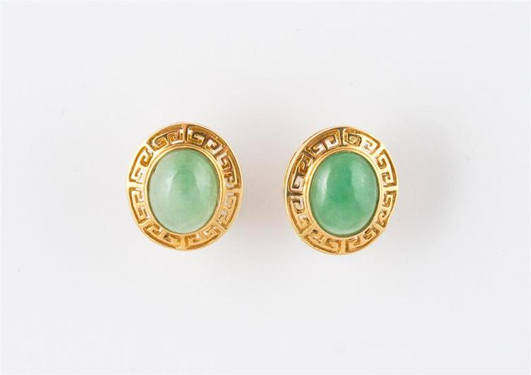 18K YELLOW GOLD AND JADE EARRINGS