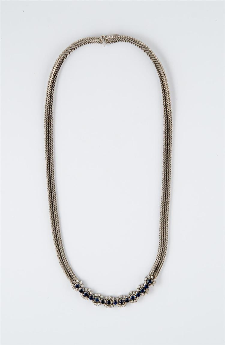14K WHITE GOLD, SAPPHIRE, AND DIAMOND NECKLACE