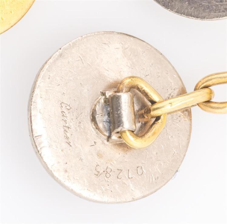 14K YELLOW AND WHITE GOLD, DIAMOND, AND SAPPHIRE CUFFLINKS, Cartier