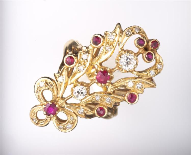 14K YELLOW GOLD, DIAMOND, AND RUBY RING