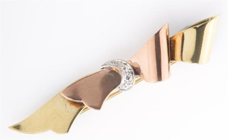 18K BICOLOR GOLD AND DIAMOND BROOCH, Cartier