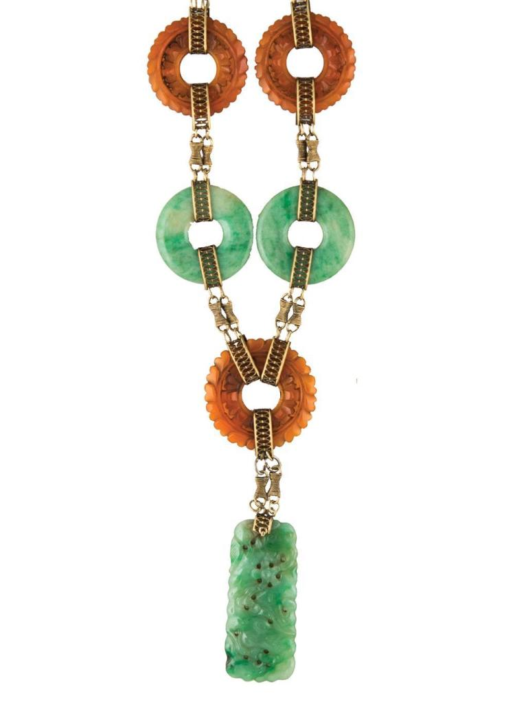 14K YELLOW GOLD, JADE, AND CARNELIAN NECKLACE
