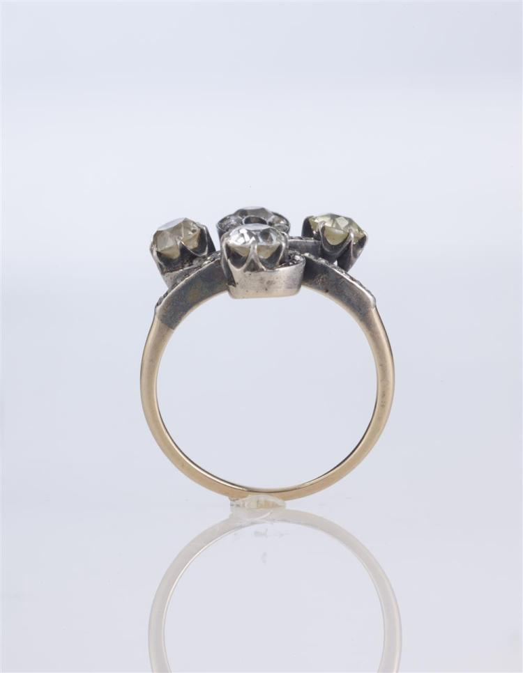 14K YELLOW GOLD AND SILVER-TOPPED DIAMOND RING