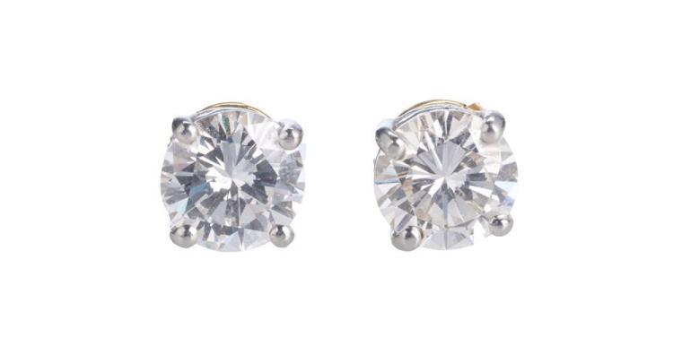 14K YELLOW AND WHITE GOLD AND DIAMOND EARRINGS