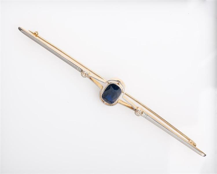 14K YELLOW AND WHITE GOLD, SAPPHIRE, AND DIAMOND BAR BROOCH