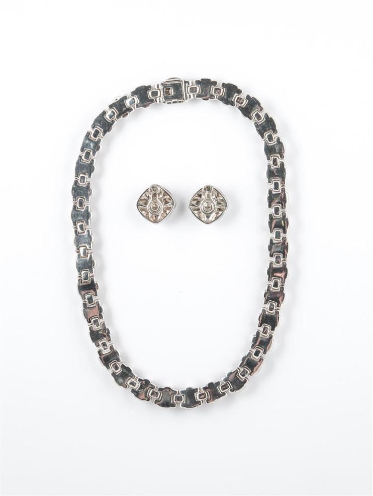 SILVER NECKLACE AND EARCLIPS, Tiffany & Company