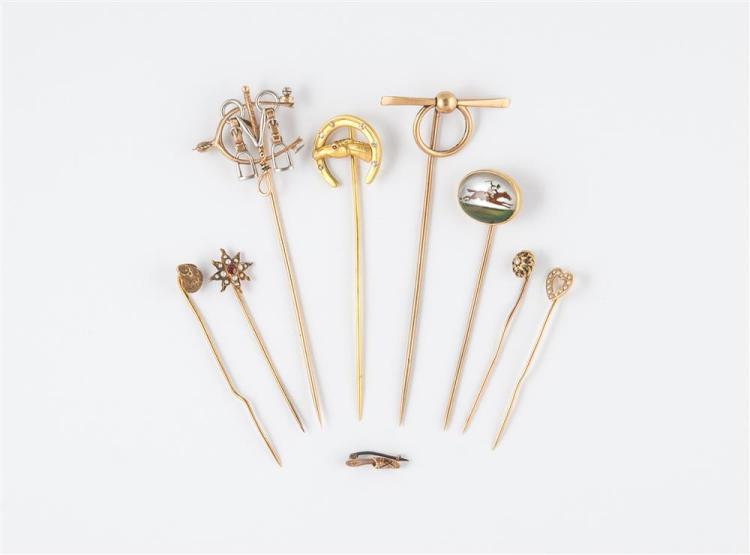 COLLECTION OF EQUESTRIAN THEME STICK PINS