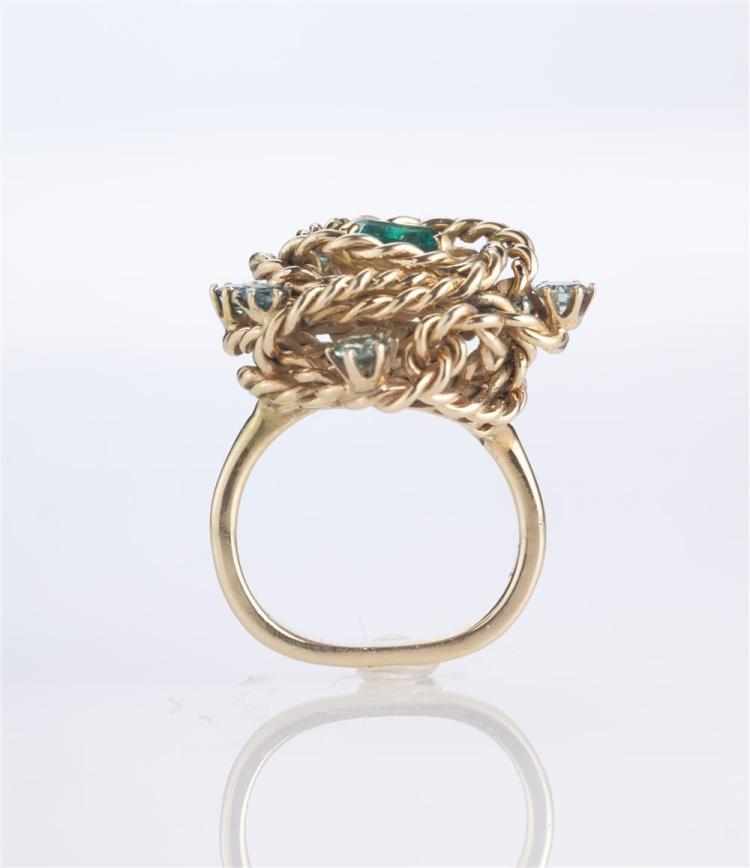 14K YELLOW GOLD, EMERALD, AND GEMSET RING