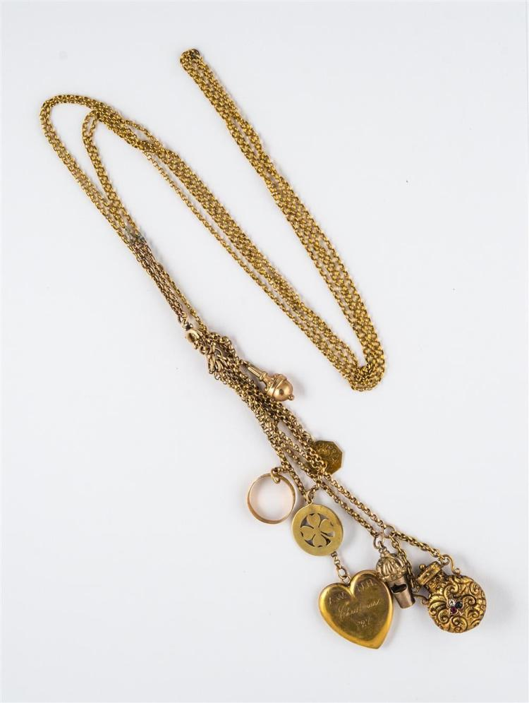 14K YELLOW GOLD LONGCHAIN WITH CHARMS