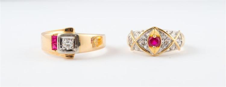 TWO 14K YELLOW AND WHITE GOLD, DIAMOND, AND RUBY RINGS