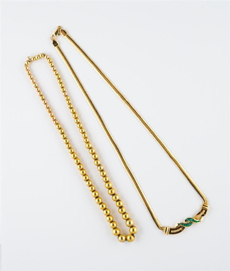 TWO YELLOW GOLD NECKLACES