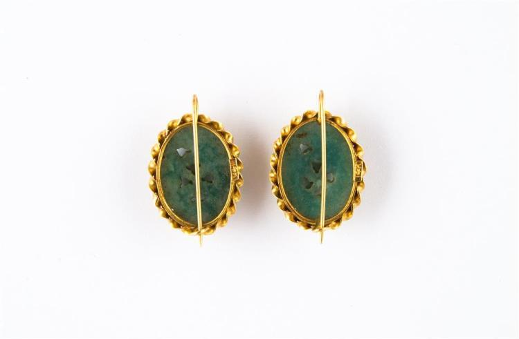 14K YELLOW GOLD AND CARVED HARDSTONE EARPENDANTS