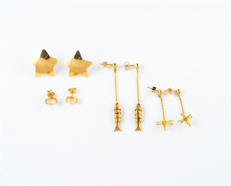 FOUR PAIRS OF 14K YELLOW GOLD EARRINGS