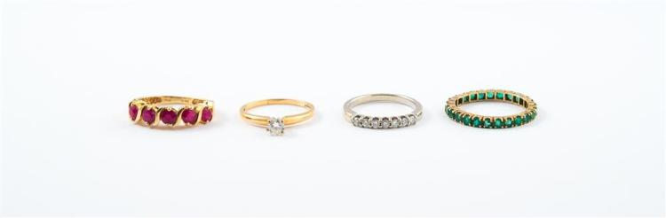 COLLECTION OF 14K GOLD AND GEMSET RINGS