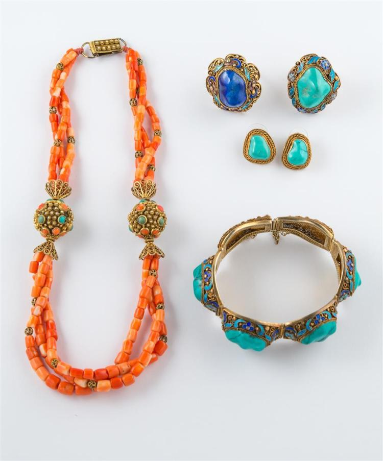 COLLECTION OF GILT METAL, ENAMEL, CORAL, TURQUOISE, AND LAPIS JEWELRY
