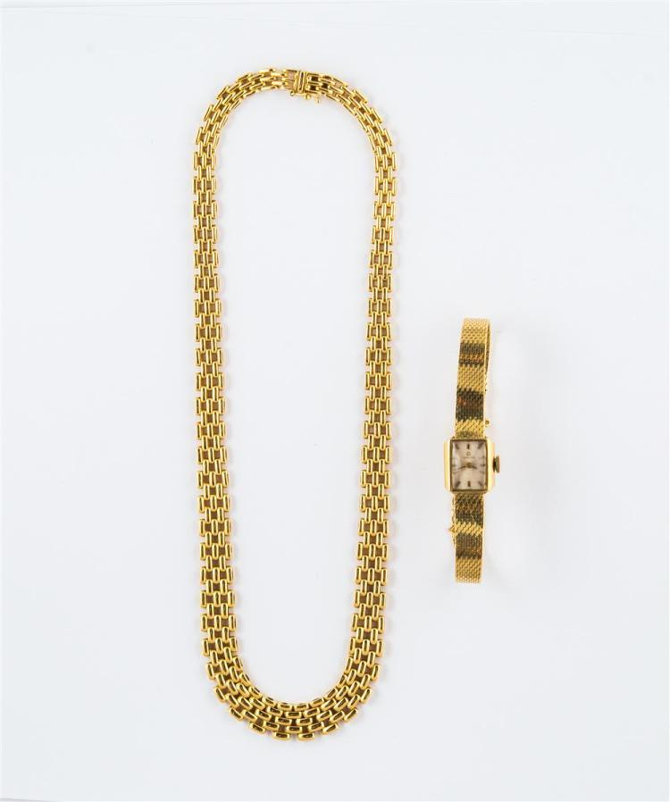 LADY'S 14K YELLOW GOLD WRISTWATCH, Omega, with a 14K YELLOW GOLD NECKLACE