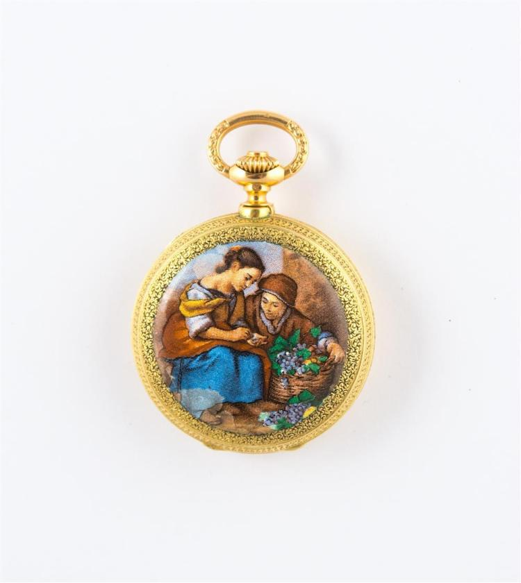 18K YELLOW GOLD AND ENAMEL POCKETWATCH, LeCoultre