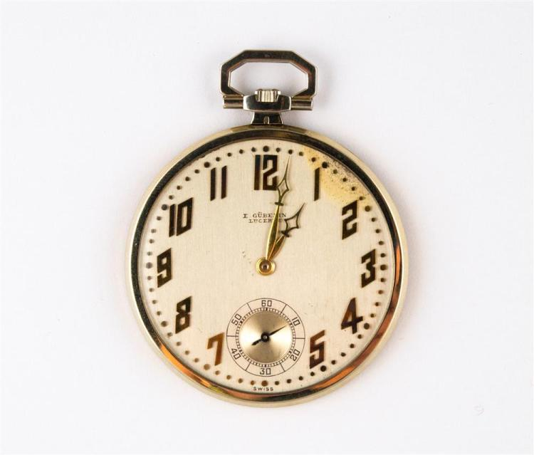 18K YELLOW AND WHITE GOLD OPEN FACE POCKETWATCH, Gubelin