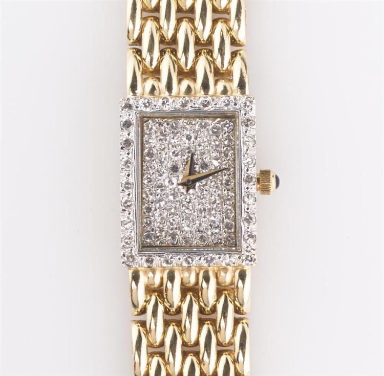 LADY'S 14K YELLOW GOLD AND DIAMOND WRISTWATCH, Cyma