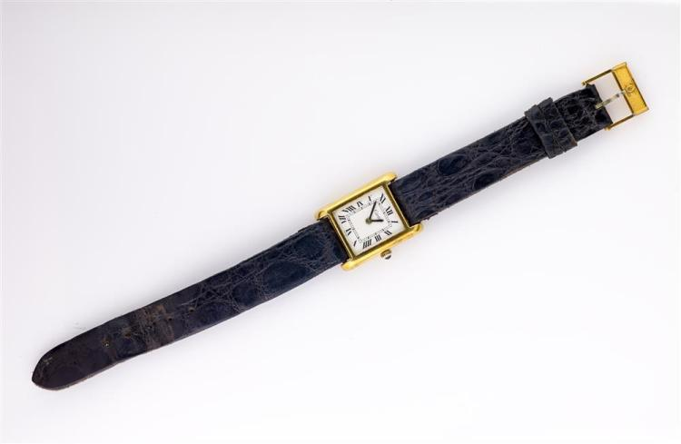 18K ELECTROPLATED YELLOW GOLD TANK WATCH, Cartier