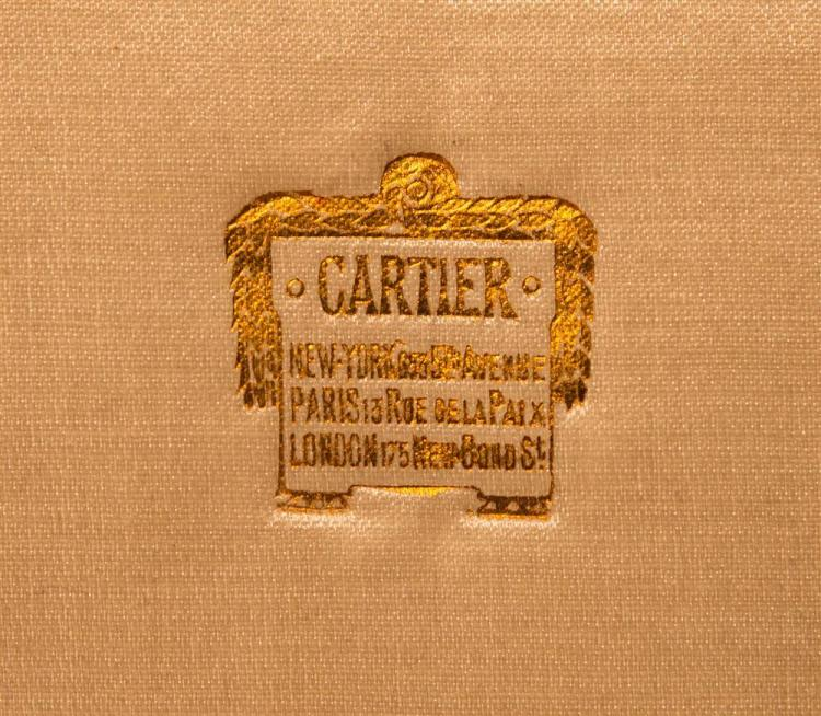 EMBROIDERED SILK CLUTCH WITH PLATINUM, DIAMOND, AND ONYX PANTHER ACCENT, Cartier