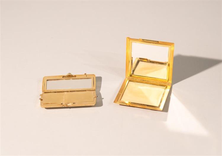 18K YELLOW GOLD LADIES COMPACT, Gubelin, maker, together with 14K YELLOW GOLD LADIES COMPACT